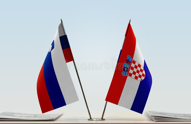 Flags of Slovenia and Croatia. Two table flags of Slovenia and Croatia stock image