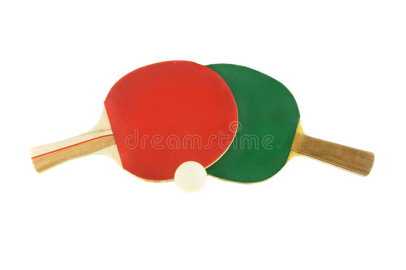 Two table tennis racket and ball stock image