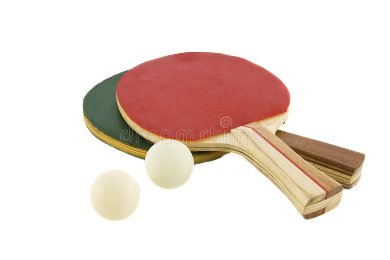 Two table tennis racket and ball royalty free stock photos