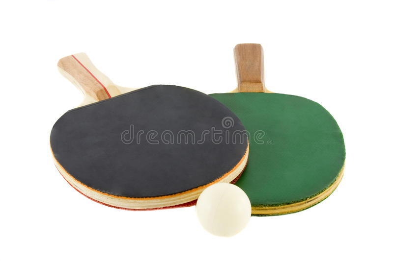 Two table tennis racket and ball stock photography