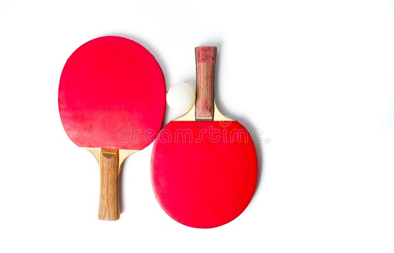 Two table tennis rackets and a ball isolated stock photos