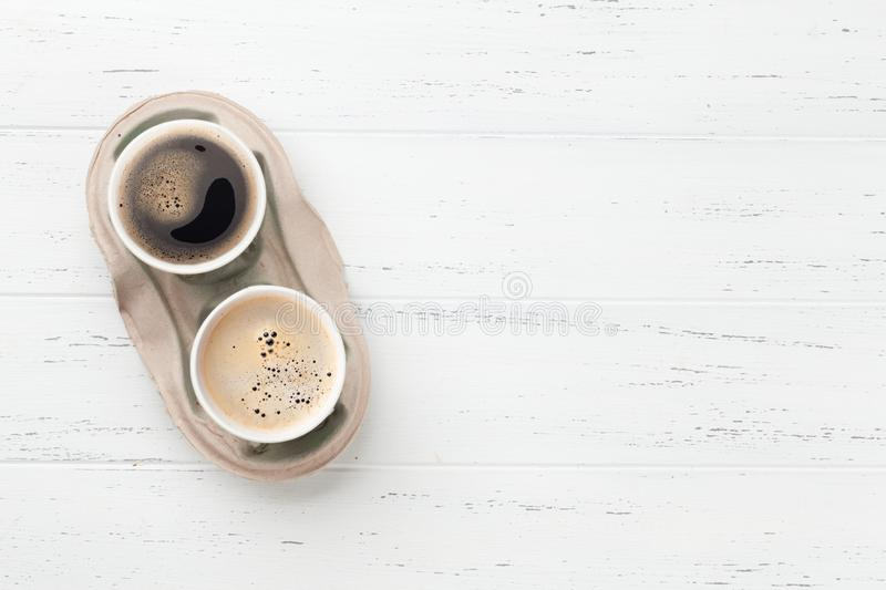 Two take away coffee cups royalty free stock images
