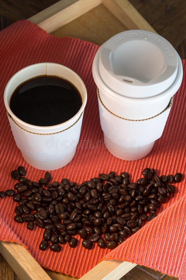 Two take away hot black coffee royalty free stock photography