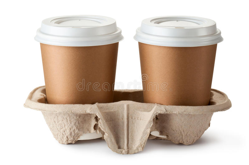 Two take-out coffee in holder royalty free stock image