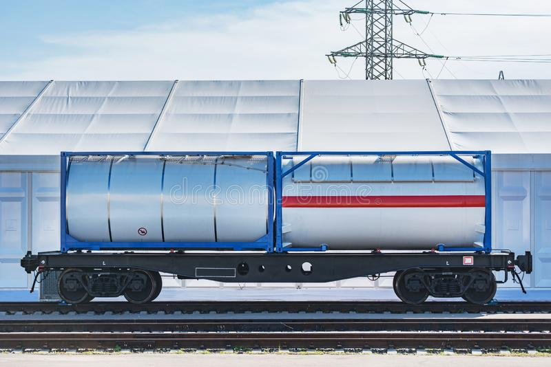 Two tank containers 20-foot-long stock photos