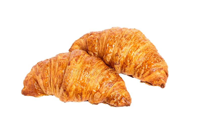 Two croissants isolated on white background stock photo
