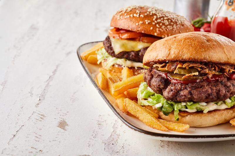 Two tasty hamburgers served with French fries royalty free stock image