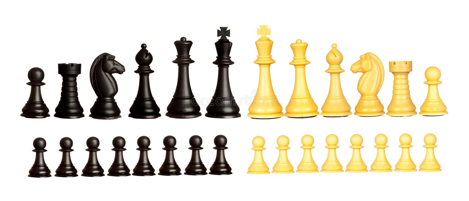 Two teams of the chess. Isolated on a white background stock images