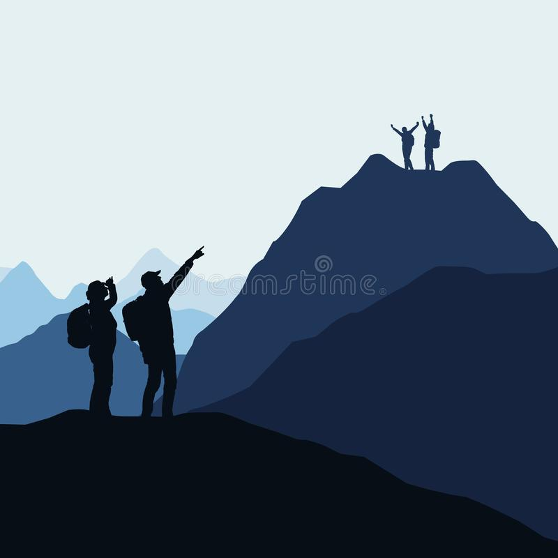 Two teams of climbers, men and women compete for victory or success. Loser and winner on the mountain, vector. Two teams of climbers, men and women compete for stock illustration