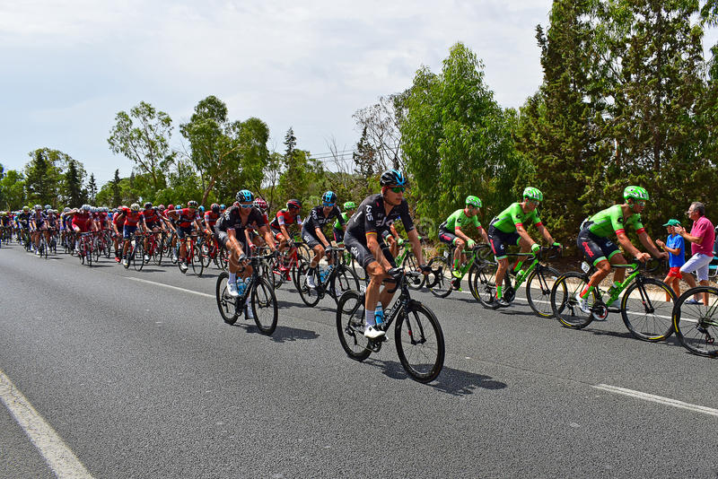 Team Sky And Cannondale Lead Peleton La Vuelta España. The two teams control the peleton on stage 9 of La Vuelta Espana 2017 royalty free stock photos