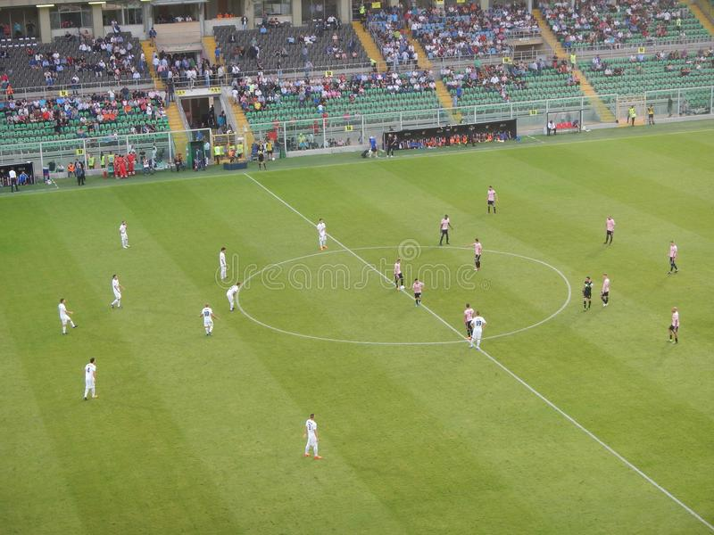 PALERMO, ITALIA - June 10, 2018 - US Città di Palermo vs Venezia - Serie B 2017-2018 Playoff. The two teams placed in the center circle at the time of kick royalty free stock image