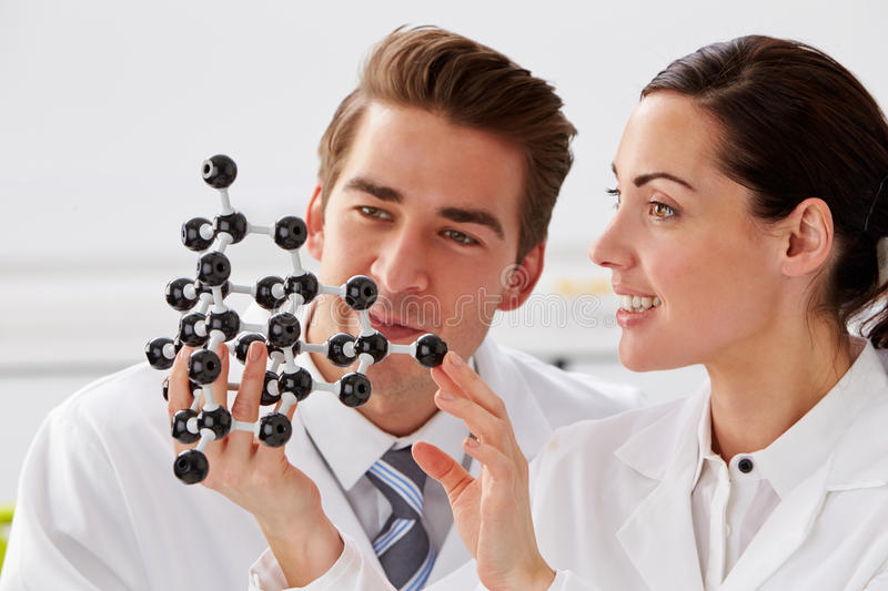 Two Technicians Looking At Molecular Model In Laboratory royalty free stock images