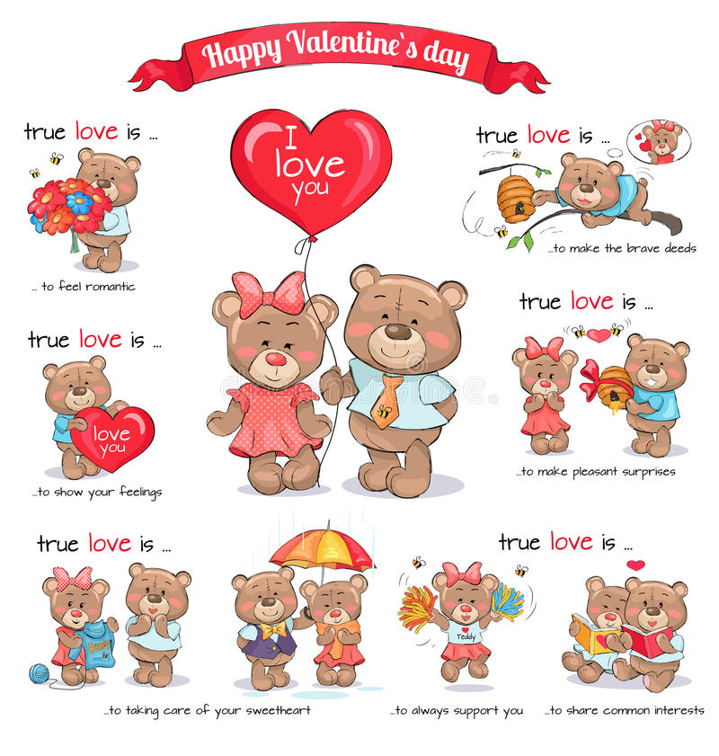 Two Teddy Bears Celebrate Happy Valentine s Day. In love teddy bears celebrate happy Valentine s Day. Vector illustration of explanation of true love between stock illustration