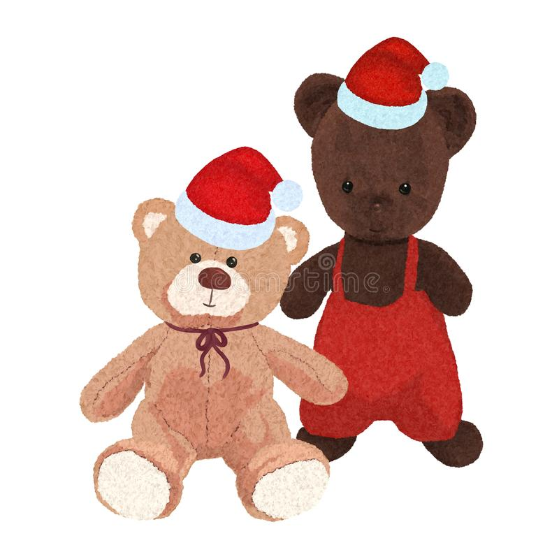 Two teddy bears in christmas hats, drawing vector illustration