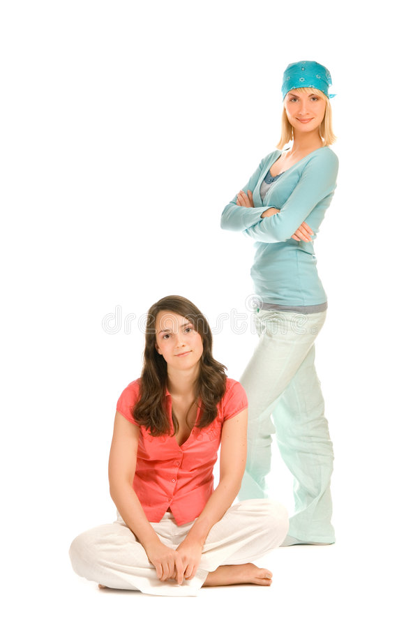 Download Two teenage girls stock photo. Image of clothing, background - 4782932