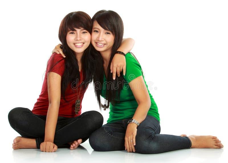 Two teenage girls best friend. Portrait of attractive two teenage girls best friend having fun stock image