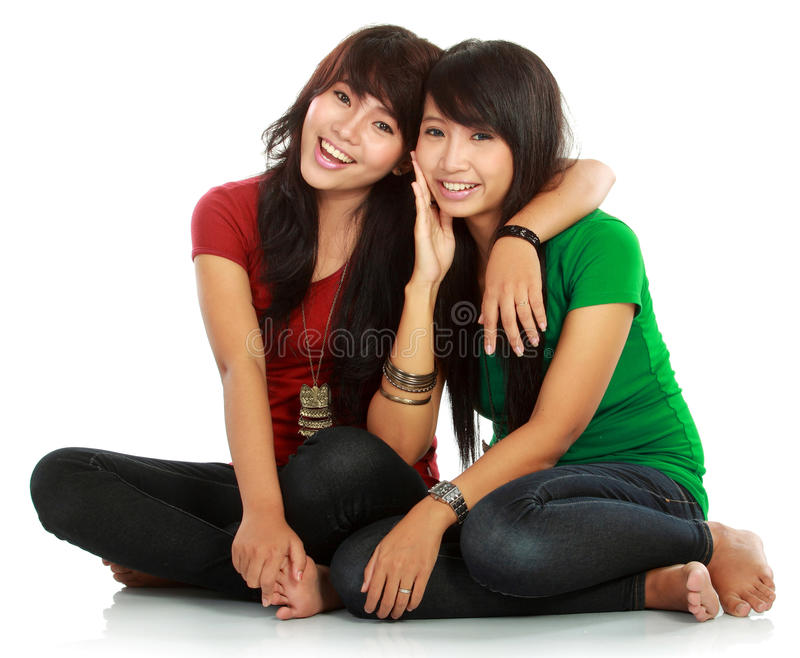 Two teenage girls best friend. Portrait of attractive two teenage girls best friend having fun stock photos