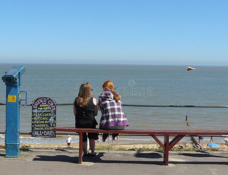 Two teenage girls enjoying seaview stock photo
