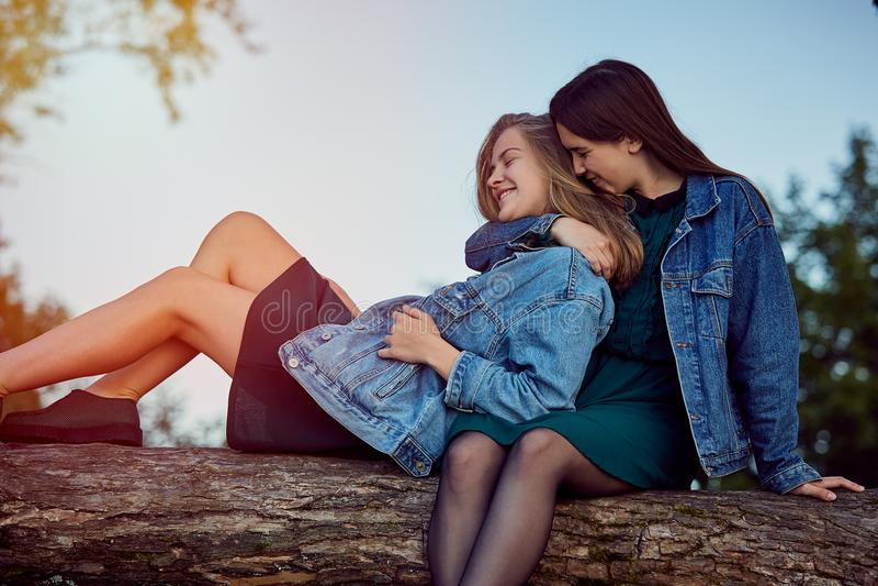 Girls summer secrets royalty free stock photo