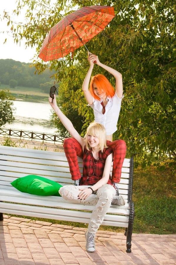 Free Two Teenage Girls Have Fun At Stock Image - 15695621