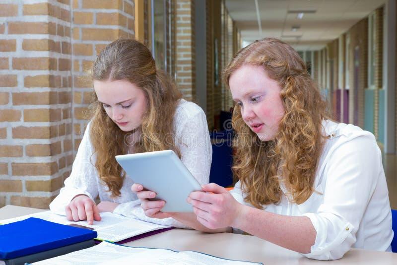 Two teenage girls studying in corridor of school royalty free stock photo