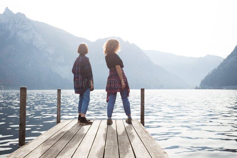Two teenage girls stock image