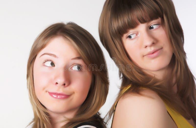 Two teenage girls together stock photo