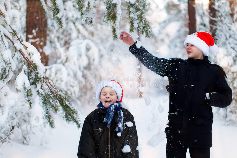 Two teenagers in Christmas hats Santa Claus having fun in the sn. Ow-covered forest playing in the snow royalty free stock image