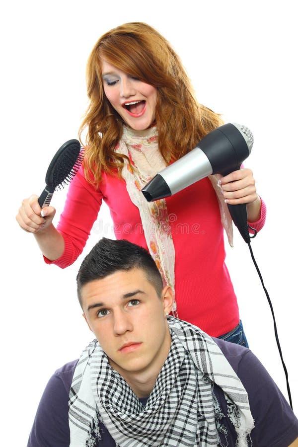 Two teenagers posing stock image