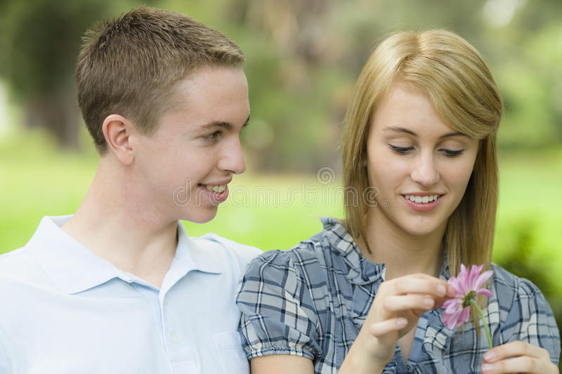 Two Teens in Park royalty free stock image
