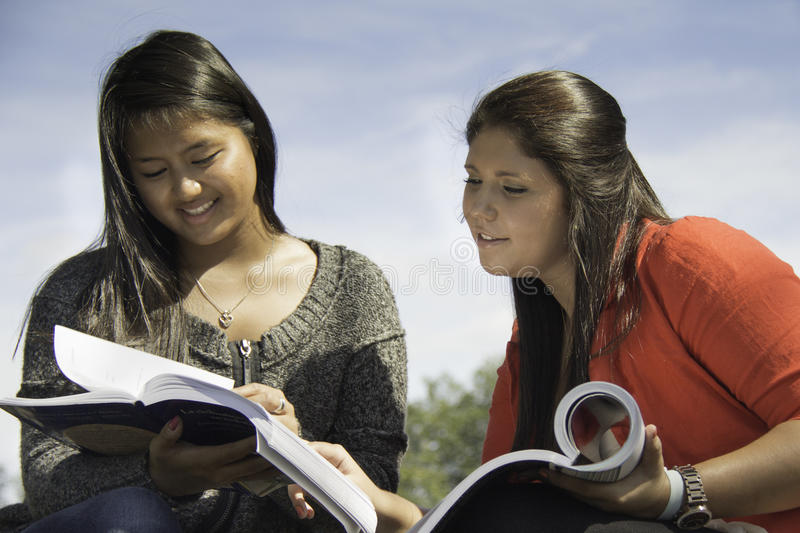 Download Two Teens Or Young Women Studying Stock Image - Image: 27709093