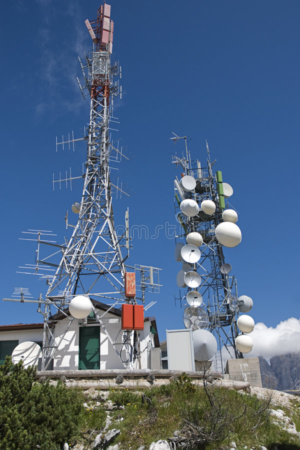 Two Telecomunication towers royalty free stock photography