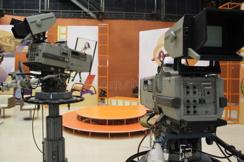 Download Television Cameras In Studio Editorial Image - Image of indoors, candid: 31082090