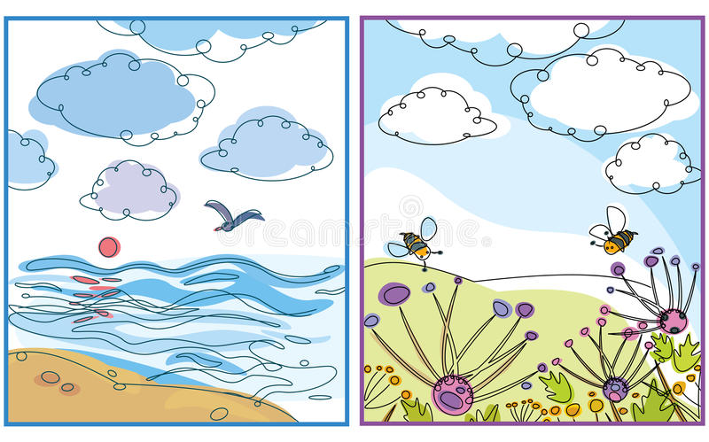 Two of tender landscapes for your design. Landscapes are my creative drawing and you can use it for your design, made in , Adobe Illustrator 8 EPS file royalty free illustration