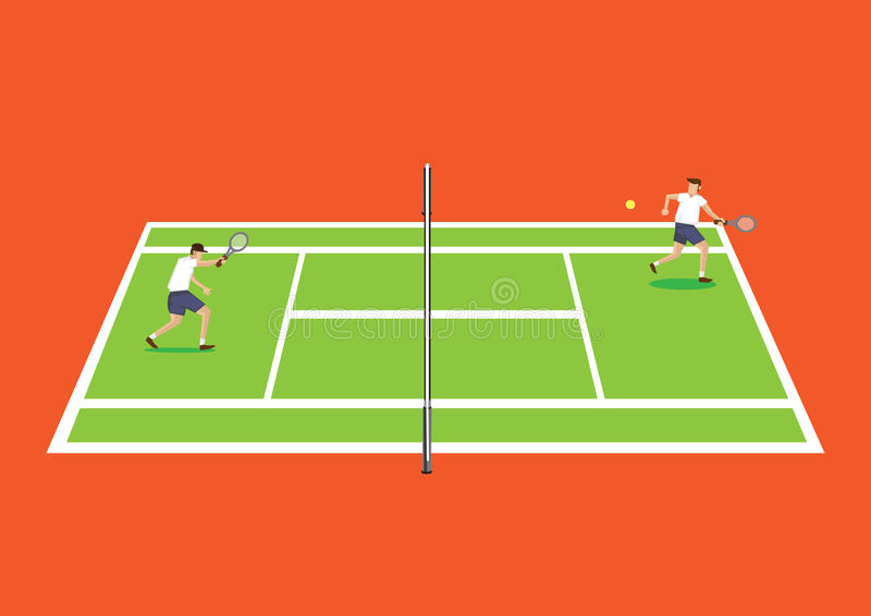 Two Tennis Players Having a Game in Tennis Court Cartoon Vector. Vector illustration of two tennis players having a game in tennis court from the side in vector illustration