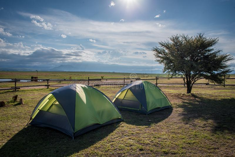 Two tents pitched at Amphitheatre Backpackers near Royal Natal National Park stock photo