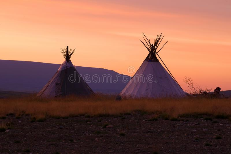 Two tents of reindeer herders at dawn. Yamal, Russia. Two tents of reindeer herders at dawn. Yamal. Russia royalty free stock photos