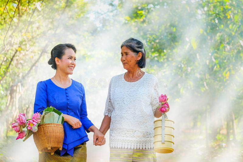 Two Thai women, two people folded pink lotus go to the temple. Two Thai women, two people folded pink lotus to go to the temple this morning royalty free stock images