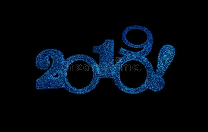 Two thousand and nineteen. New 2019 year on white. Two thousand and nineteen. Happy New 2019 year in blue tones on black background stock image
