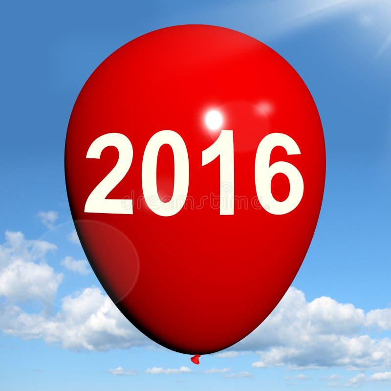 Two Thousand Sixteen on Balloon Shows Year 2016 stock illustration