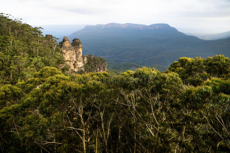 Two of the three sisters rock formation within the forrest in the Blue mountains, Katoomba, New South Wales, Australia stock image