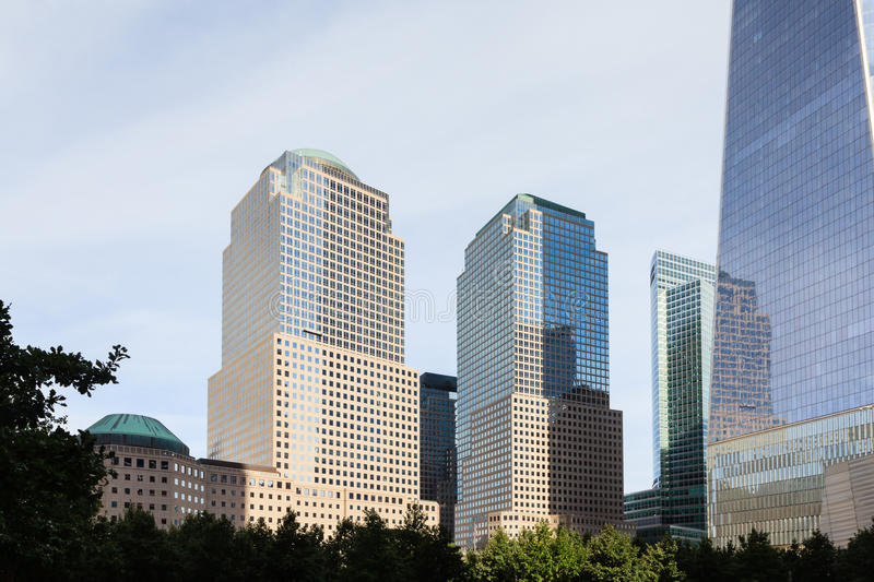 Two and Three World Financial Centers. A view of Two and Three World Financial Centers in Manhattan, New York City royalty free stock photography