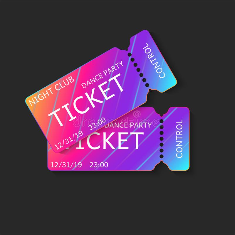 Two tickets vector 3d isolated mockup night club dj dance party or music concert, vip coupons template with modern gradient on vector illustration