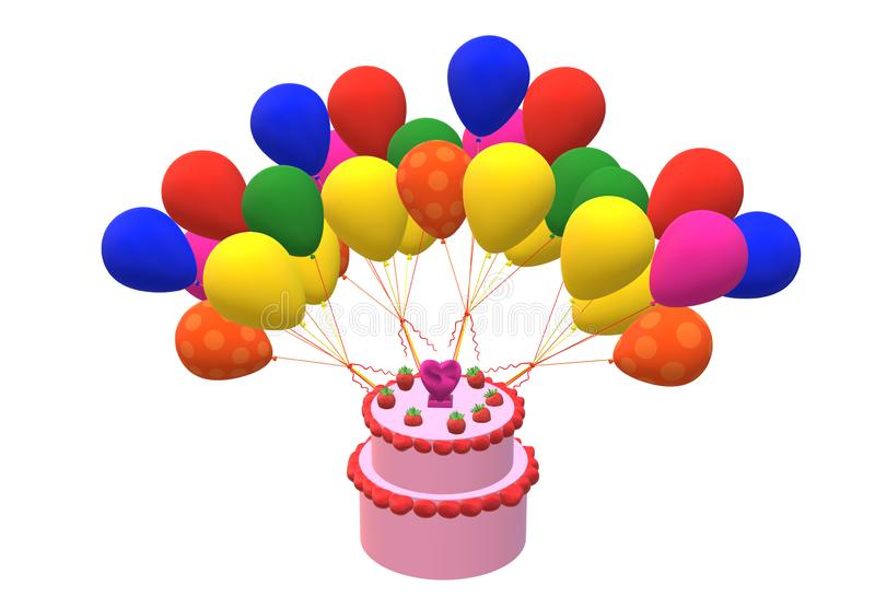 A two tier birthday cake and some balloons. A computer generated illustration image of a two tier birthday cake and some balloons against a white backdrop royalty free illustration