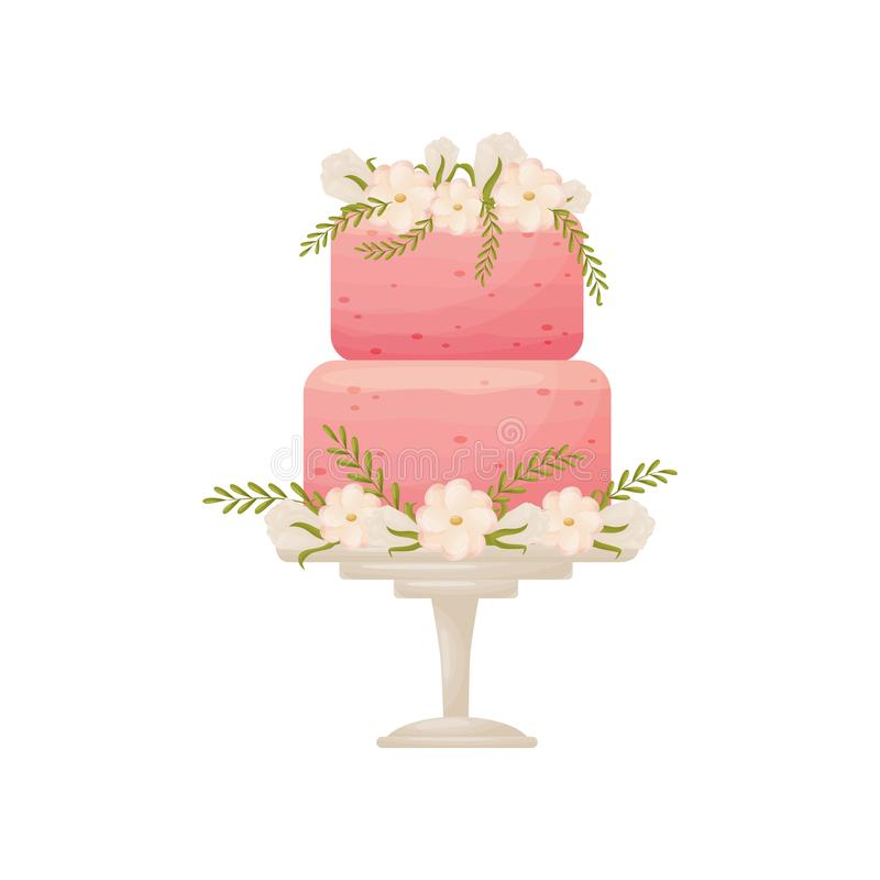 Two-tier pink cake on a white stand with a leg. Vector illustration on white background. Two-tier pink cake on a white stand with a leg. Decorated with white royalty free illustration