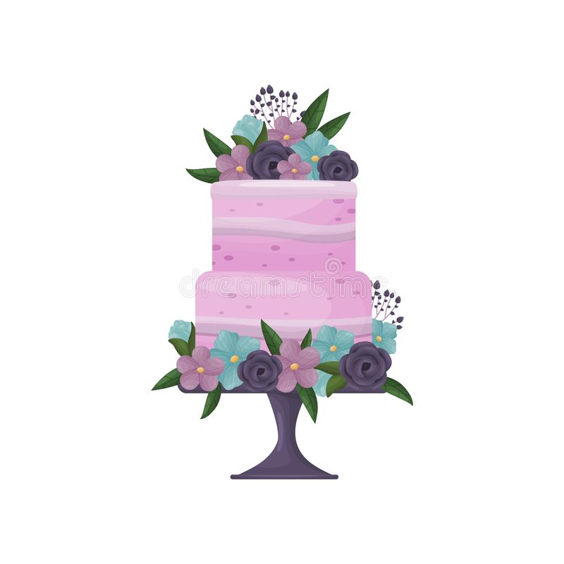 Two-tier purple cake with strips of cream on a deep blue stand with a leg. Vector illustration on white background. Two-tier purple cake with strips of cream on vector illustration