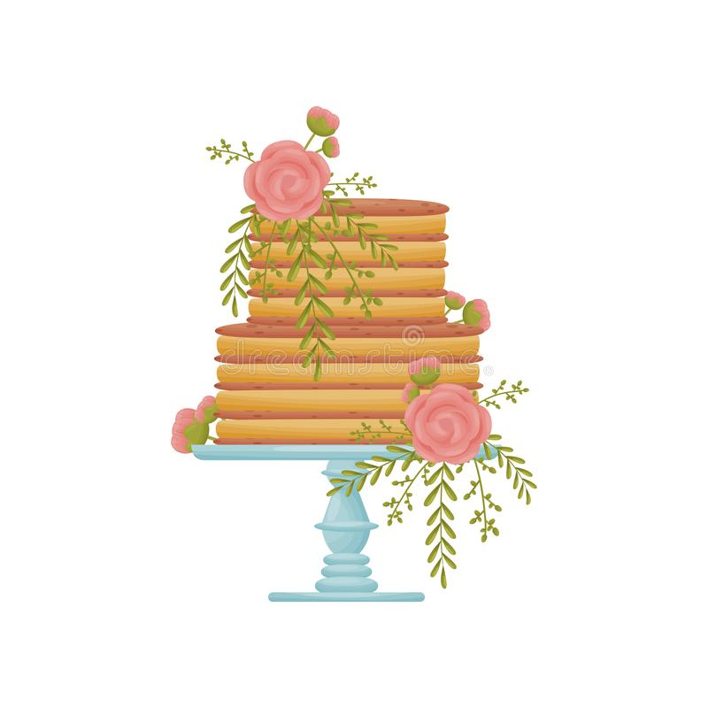 Two-tier striped caramel cake on a blue stand with a leg. Vector illustration on white background. Two-tier striped caramel cake on a blue stand with a leg royalty free illustration