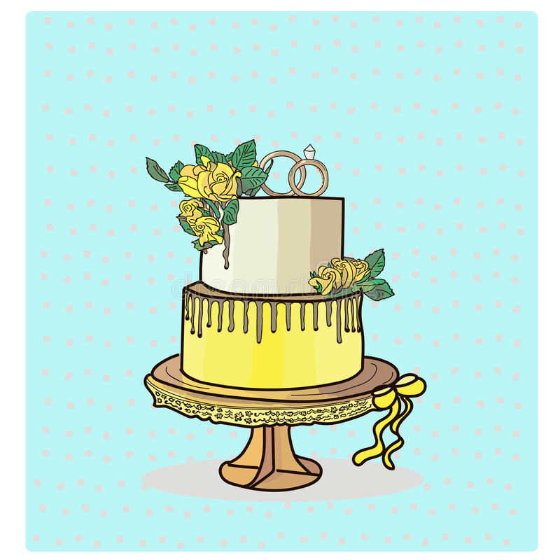 Two tier wedding cake vector royalty free stock photo