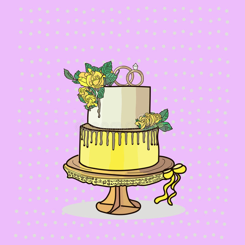 Two tier wedding cake vector royalty free stock images