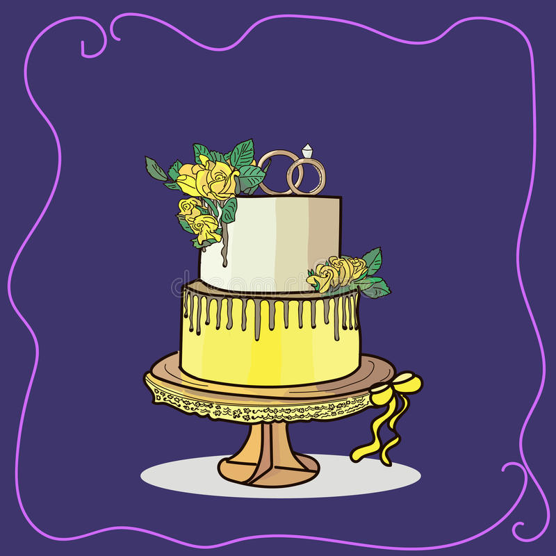 Two tier wedding cake vector royalty free stock photography
